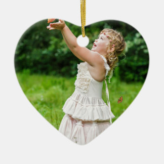 Little Girl Catching a Butterly Ceramic Ornament