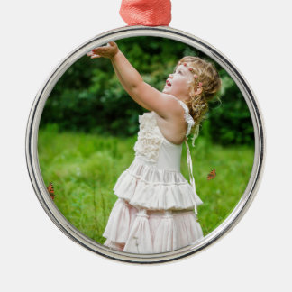 Little Girl Catching a Butterly Metal Ornament