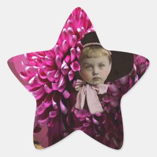 Little Girl Chrysanthemum Flower Star Sticker