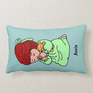 Little Girl Custom Prayer Pillow: Redhead Lumbar Cushion
