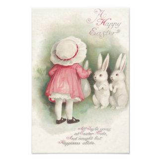Little Girl Easter Bunny Rabbit Photographic Print