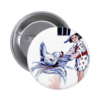 Little girl feeding a rooster pinback button