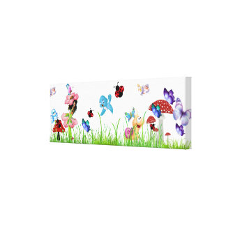 Little Girl Garden Stretched Canvas Prints