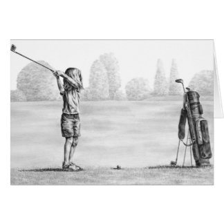 Little Girl Golfer Drawing by Kelli Swan Card