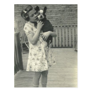 Little girl holding her dog post card