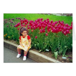 Little Girl in a Garden of Tulips Card
