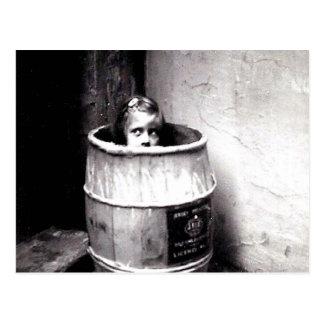 Little Girl in Barrel Postcard