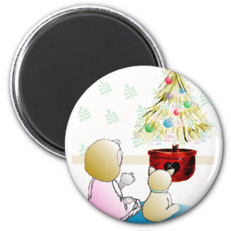 Little Girl in Nightgown Christmas Eve Magnet