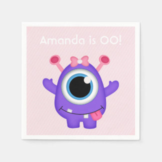 Little Girl Monster themed Party personalized Paper Napkins