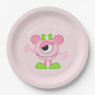 Little Girl Monster themed Party personalized Paper Plate