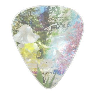 Little Girl Nature Collage Pink Flower Blue Yellow Pearl Celluloid Guitar Pick