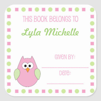 Little girl owl book plate label for baby showers square sticker