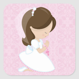Little Girl, Pink, First Communion Square Sticker