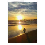 Little Girl Playing on the Beach at Sunset Greeting Card