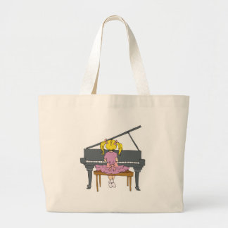 little girl playing piano large tote bag