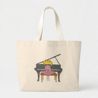 little girl playing piano jumbo tote bag