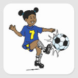 Little Girl Playing Soccer Square Stickers