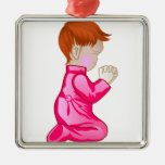 Little Girl Praying Silver-Colored Square Decoration