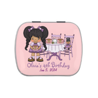 Little Girl Purple Tea Party Candy Favor Jelly Belly Candy Tin