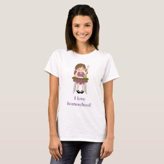 Little girl raising hand I love homeschool! T-Shirt