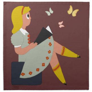 Little Girl Reading Napkins