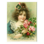 Little Girl Roses and Shamrocks St.Patrick's Day Postcard