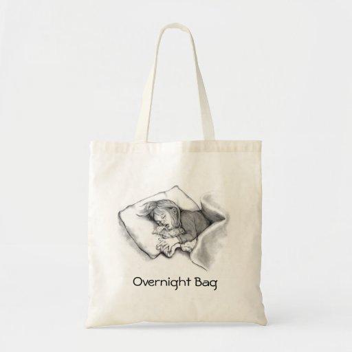 Little Girl Sleeping: Original Pencil Drawing Bags