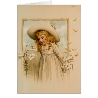 Little Girl Smelling Flowers in Straw Hat Card
