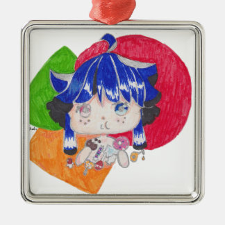 little girl snacking Silver-Colored square decoration