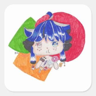 little girl snacking square sticker