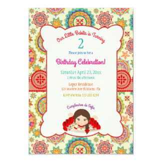 Little Girl Spanish Dress Colorful Card