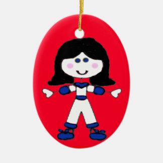 Little Girl Stick Family Ceramic Ornament