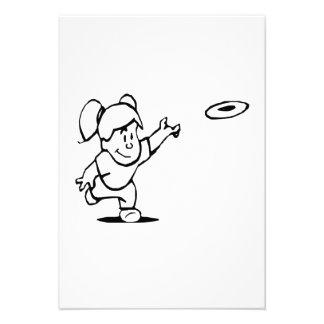 Little Girl Throwing Disc Custom Invite