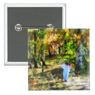 Little Girl Walking in Autumn Woods Pinback Buttons