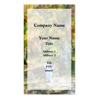 Little Girl Walking in Autumn Woods Business Card