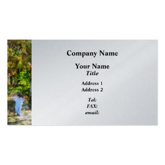Little Girl Walking in Autumn Woods Business Card Templates
