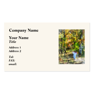 Little Girl Walking in Autumn Woods Business Cards