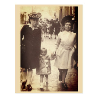 Little girl walking with mother and aunt, Belgium Postcard