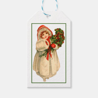 Little Girl White Fur Coat and bundle of Holly Gift Tags