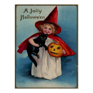 Little Girl Witch With Her Black Cat Poster