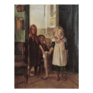Little girl with a cod by Anna Ancher Poster