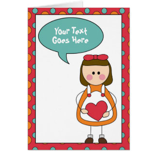 little girl with a heart card