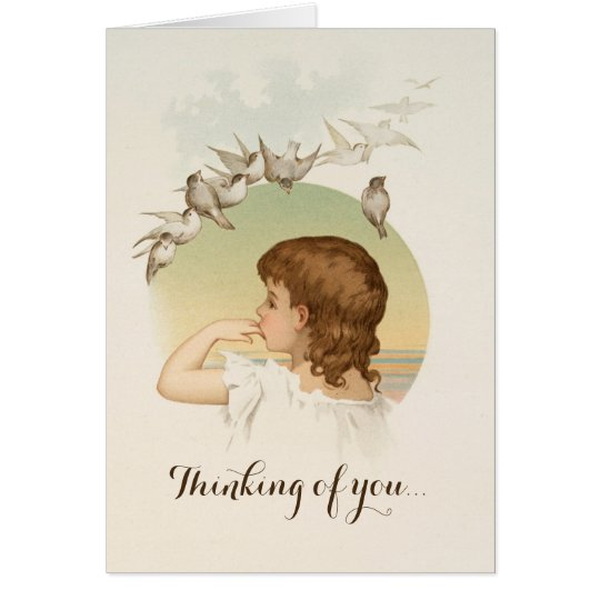 Little Girl with Birds Card