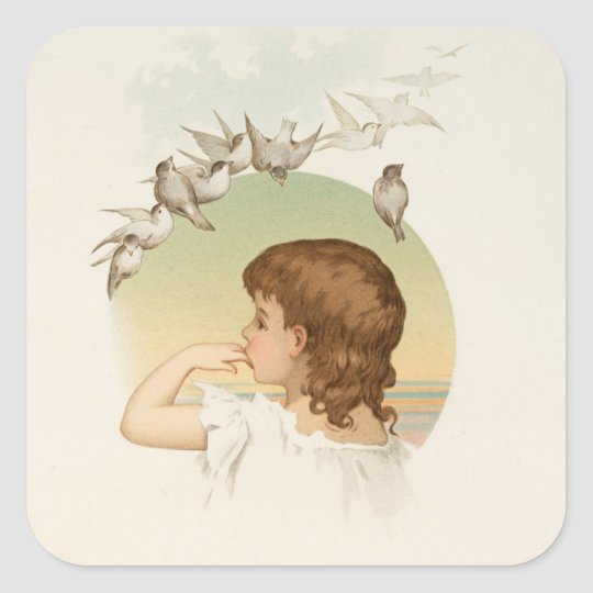 Little Girl with Birds Square Sticker