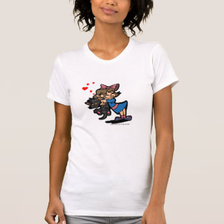 Little Girl with black cat  with harts Tee Shirts