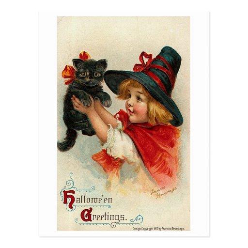 Little Girl with Black Kitten Postcard