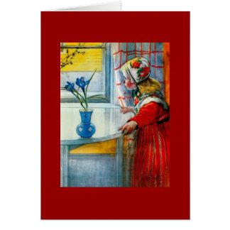 Little Girl with Blue Iris Card