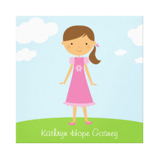 Little Girl with Brown Ponytail Wall Canvas Canvas Prints