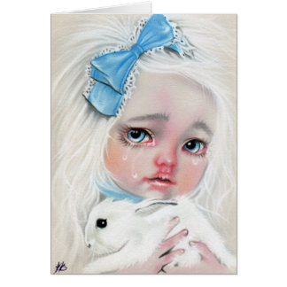 Little girl with bunny pool of tears Card
