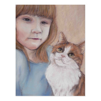 Little Girl with Calico Cat Postcard
